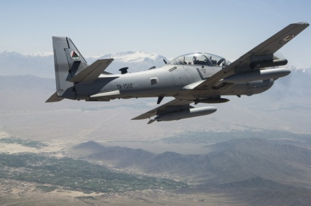 Afghan Air Force A-29 Super Tucano flying over Kabul - Afghanistan Conflict