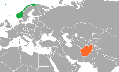 Map of Norway and Afghanistan