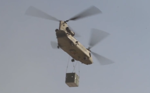 U.S. Army Chinook transporting equipment container in Afghanistan (photo from DVIDS video Oct 2016)