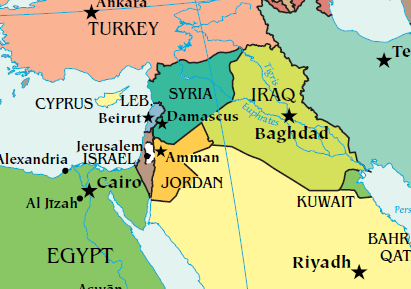 iran map of jordan