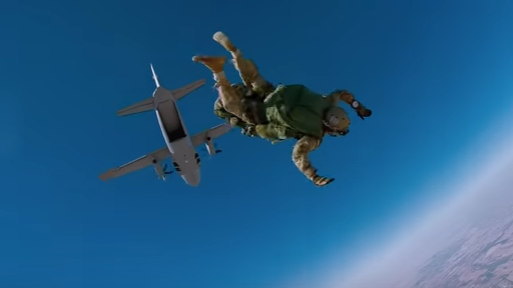 U.S. Army Soldier conducting a High Altitude Low Opening (HALO) parachute jump. (Photo from U.S. Army Recruiting video, December 19, 2016).