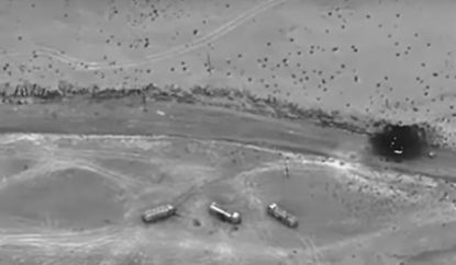 Destroyed ISIL oil tankers. (Photo by SSgt Charles Rivezzo, U.S. AFCENT Public Affairs, Dec 8, 2016). Targets were struck based on intel from the Target Fusion Cell.