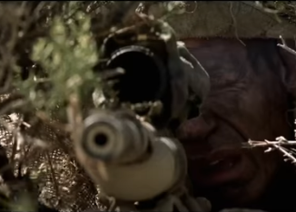"John Cena stars in the war movie ""The Wall"". Image from movie trailer on YouTube.com"
