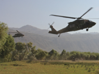 UH-60 Black Hawk helicopters from 101st CAB land at LZ in Laghman province, Afghanistan. (photo Sep 23, 2015 by CPT Jarrod Morris, U.S. Army).