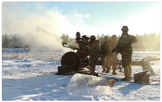4-319th Artillery in Latvia conducting fire support training in winter of 2016 (photo Department of Defense)