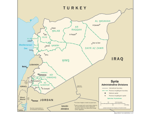 Map Syria Admin Divisions CIA 2007