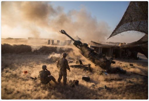 US artillery unit providing fire support to Iraqi government forces in the offensive to take Mosul from the Islamic State.