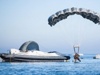 Operators from Special Operations Command Europe (SOCEUR) conduct a training Water Jump (photo SOCEUR 2016)