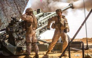 M777 Howitzer Firing in Iraq. (Photo by CPL Zachery Laning, USMC, 2017).