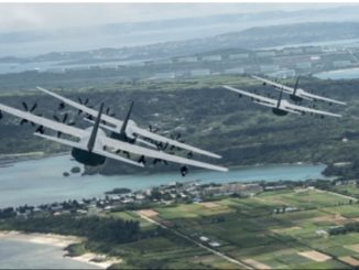 MC-130J Commando IIIs of the 17th Special Operations Squadron fly in formation off the coast of Okinawa, Japan. (Photo by Senior Airman John Linzmeier, June 22, 2017).