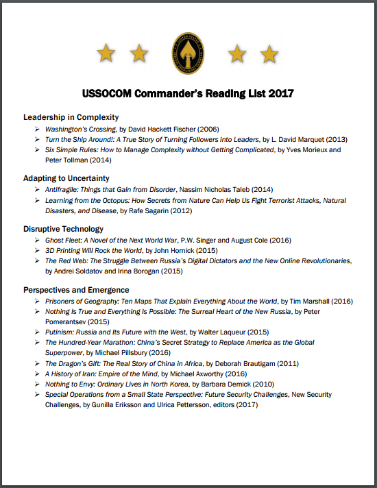 USSOCOM Commander's Reading List 2017