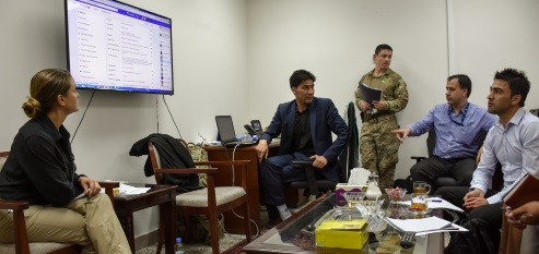 Megan Gully RS HQs PaO advisor meets with Afghan public affairs officers of the Afghan Ministry of Defence (MoD) to discuss use of social media best practices. (Photo Megan Gully, April 25, 2017). Topic - Resolute Support Social Media
