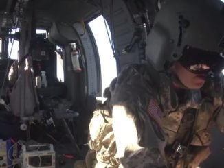 A MEDEVAC crew conducts training during exercise Southern Strike 2018 in Mississippi. (Photo from U.S. Army National Guard video by SPC Jovi Prevot, November 2, 2017).