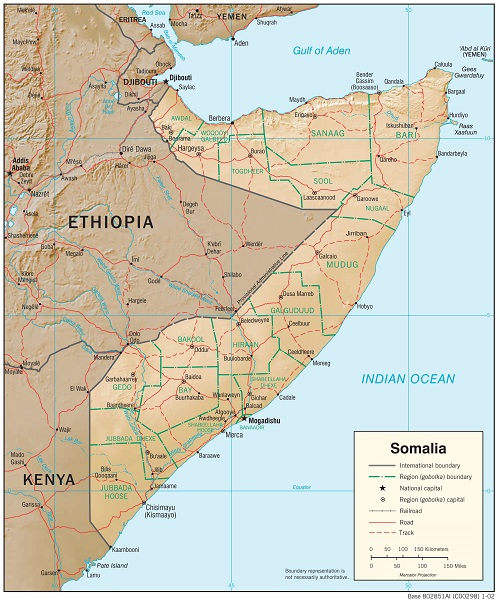 Physiography Map of Somalia (CIA, 2002)
