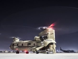 CH-47F Chinook from Task Force Brawler participates in Personnel Recovery exercise with USAF Guardian Angel team at Bagram AF. (Photo by USAF Tech. Sgt. Gregory Brook, 27 Feb 2018).
