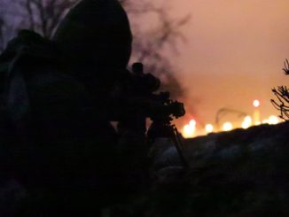 Sniper from Lithuanian National Defence Volunteer Forces (KASP) trains with U.S. SOF at JMRC (Hohenfels) during Allied Spirit VIII in January 2018. (SOCEUR photo).