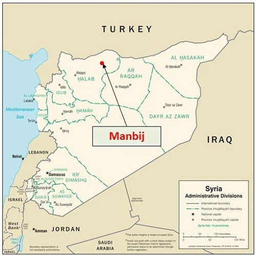 Map of Manbji Syria