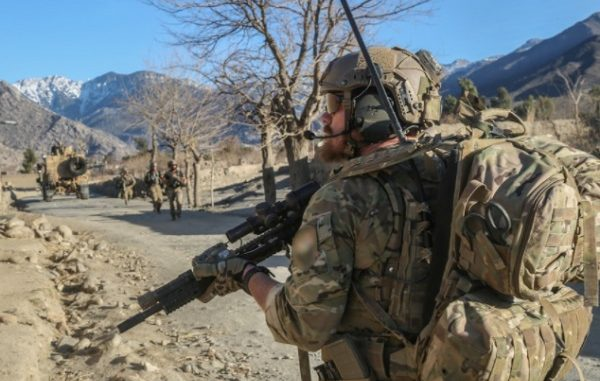 10th SFGA Soldier on patrol during a raid in Alingar district, Laghman province, Afghanistan. (Photo by SGT Connor Mendez, 10th SFG, February 17, 2018).
