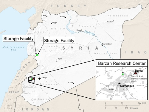 Map April 2018 Coalition air strikes against Syria (graphic by DoD, April 14, 2018).