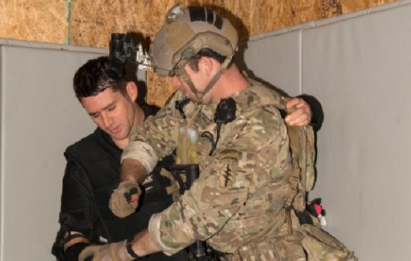 A member of the 3rd Special Forces Group participates in Special Operations Combatives Program (SOCP) training in the 3rd SFG combatives dojo. (Photo US Army, Lewis Perkins, 2018).