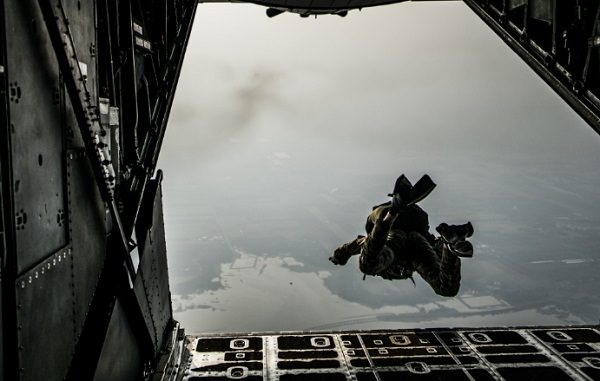 USAF pararescueman from 320th STS performs military free fall from a MC-130H Combat Talon II on Feb 16, 2018 in Thailand. Photo by Capt Jessica Tait, 353rd SOG.