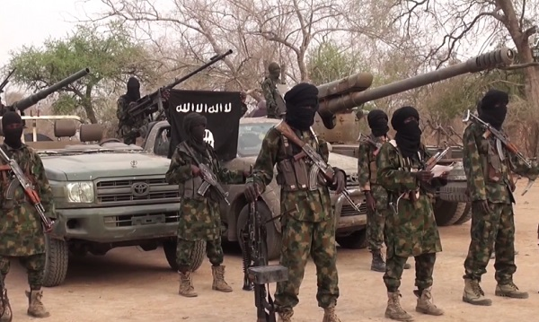 Photo of a group of Boko Haram fighters line up in this still taken from a propaganda video dated March 31, 2016. Cover photo for a CTC report on Boko Haram dated May 9, 2018.
