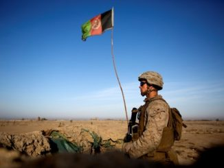 Marine Stand Guard at Bost Airfield Afghanistan