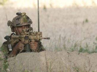 Afghan Commando provides overwatch during operations in Deh Bala district, Nangarhar province, Afghanistan.