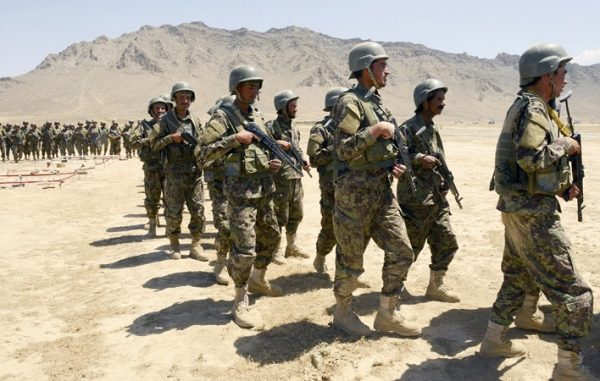 Members of a territorial defense force train at the Kabul Military Training Center (KMTC).