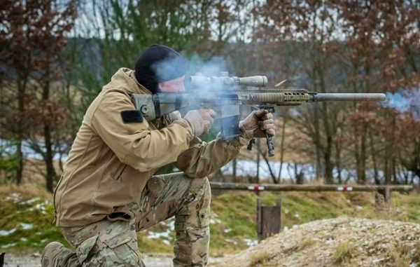 SOF operator fires M110 Semi-Automatic Sniper system in Grafenwoher, Germany.