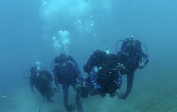 U.S. Navy and Egyptian divers conduct a familiarization dive during Eagle Response 18. U.S. Navy photo 24 July 2018.