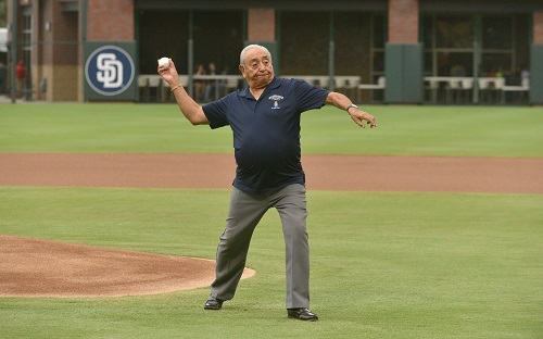 Special Forces Association 2018 Convention Ike Camacho throws out the first pitch at Green Beret Night at the El Paso Chihuahuas AAA Baseball Game. Photo Brian Kanof, Chapter 9 SFA.