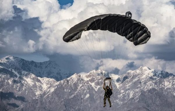 A PJ parachutes over Bagram Air Field, Afghanistan on March 3, 2018. (USAF photo)