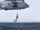 Pararescuemen of 82nd Expeditionary Rescue Squadron jump out of French SA 330 Puma helicopter during PR training in Gulf of Aden, off the coast of Djibouti on August 13,2 018. USAF photo by Senior Airman Haley D. Phillips.