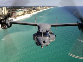 CV-22 from the 8th Special Operations Squadron flies over the Emerald Coast outside Hurlburt Field. (AFSOC photo).