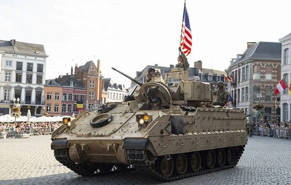 Bradley Fighting Vehicle (BFV) participating in a parade celebrating the liberation of Mons, Belguim in WWII. Petty Officer 2nd Class Brett Dodge, NATO, Sep 2, 2018.