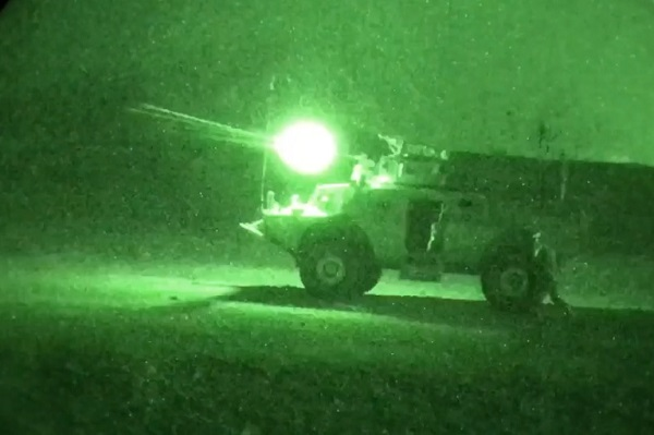 Afghan Commandos training at the Cobra Strike Maneuver Course (CSMC) perform bounding and firing mounted night maneuvers near Kabul, Afghanistan. Aside from superior infantry-based training, Commandos own the night with sophisticated night vision and agile Mobile Strike Vehicles (MSVs), delivering devastating and overwhelming fire power (NATO Photo by U.S. Army Master Sgt. Felix Figueroa).