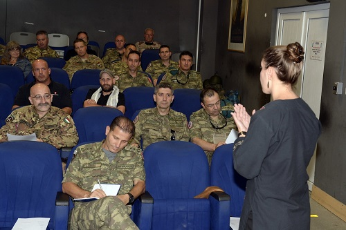 Incoming Resolute Support advisors attend in-country advisor training (ICAT) at RS Headquarters in Kabul. Photo by Lt. Kristine Volk, RS HQs, July 26,2018.