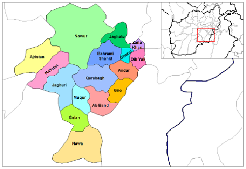 Map Ghazni districts Afghanistan