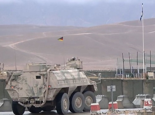 Vehicle prepares to depart Camp Marmel, Northern Afghanistan in October 2018. Photo by TAAC-North.