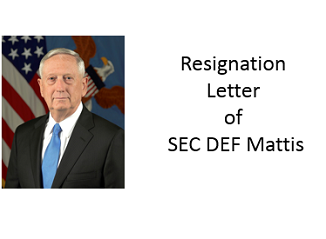 Jim Mattis letter of resignation