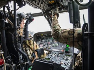 MEDEVAC in Iraq - pilots from Task Force Warhorse fly a UH-60 Black Hawk during a medical evacuation at Camp Taji, Iraq. Photo by Specialist Javion Siders, CJTF-OIR, December 18, 2018.