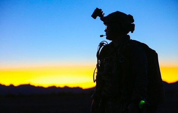 1st SFGA Soldier at Yuma Proving Grounds - An SF Soldier after a night HALO parachute jump at Yuma Proving Groupds Arizona. Photo by SGT Ian Ives, 1st SFGA, Jan 26, 2019.