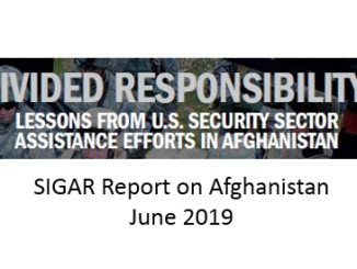 SIGAR report on Afghanistan Divided Responsibility June 2019