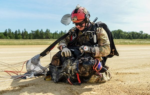 Master Sgt. Rudy Parsons, pararescueman for the 123rd Special Tactics Squadron, and Callie, his search and rescue K-9, land at Fort McCoy, Wis. July 17, 2019, as part of an domestic operations exercise. Callie is currently the only search and rescue dog in the Department of Defense. (U.S. Air National Guard photo by Staff Sgt. Joshua Horton)