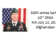 SGM James Sartor - KIA Afghanistan - 10th Special Forces Group